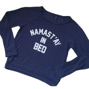 """Triumph Blue """"Namast'ay In Bed"""" Cozy Sweater Large"""